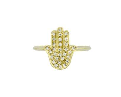 טבעת חמסה זהב צהוב 14 קראט בשיבוץ יהלומים