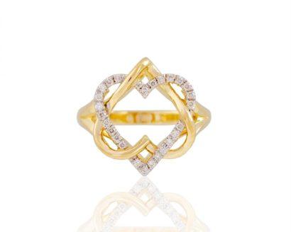 טבעת לב מרהיבה בצורת לב מגן דוד צהוב 14 קראט
