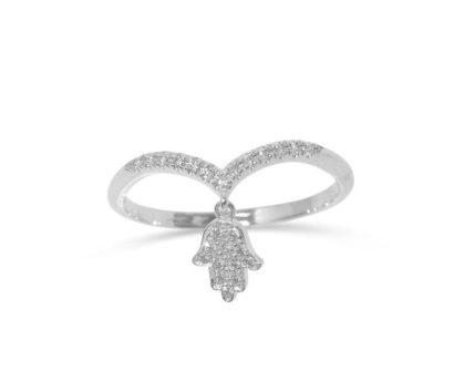 טבעת יהלום חמסה 14k
