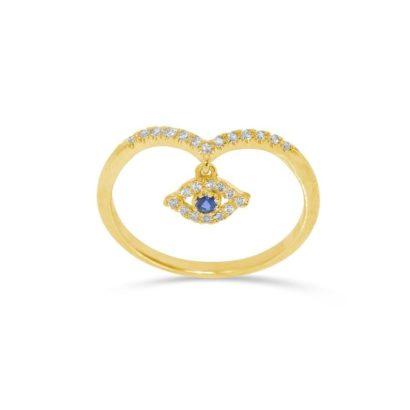 טבעת זהב עין הרע - בשיבוץ יהלומים וספיר