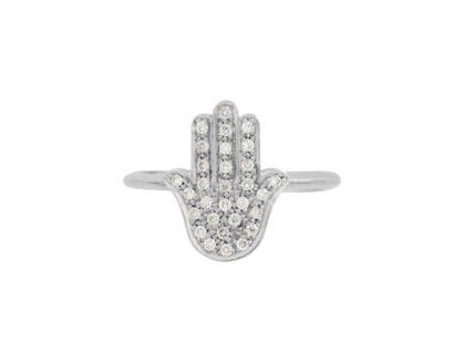 14k White gold ring Jewish Ring Hamsa