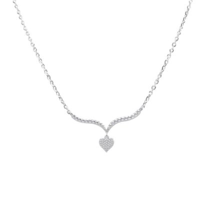 14K Yellow gold Heart V Shape Necklace