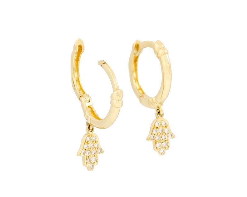 14k gold hamsa earrings elegant 14k gold