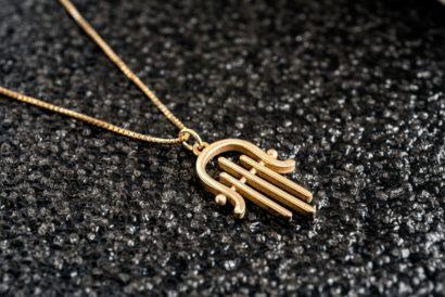 14K Gold Modern Harp Hamsa Pendant
