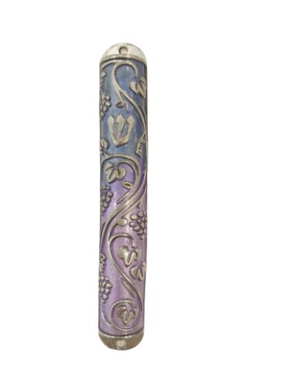 Mezuzah Case Made of Iron with olives tree Design (העתק)  - NADAV ART
