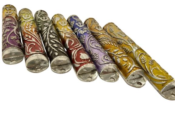 7 Mezuzah Cases Set Seven Species design made of Pewter iron  - NADAV ART