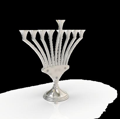 Modern V Shaped Stunning Sterling Silver Hanukkah Menorah  - NADAV ART