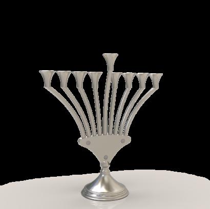 Modern V Shaped Hanukkah Menorah with Hebrew Blessing  - NADAV ART