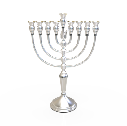 925 Sterling Silver Menorah with Crown Decoration Element  - NADAV ART