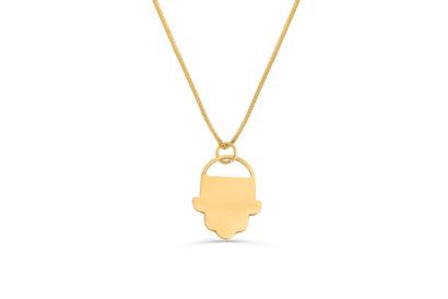 14K  Gold Modern Design Lucky Hand Necklace  - NADAV ART