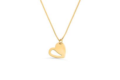 14K  Gold Modern Style Heart Pendant  - NADAV ART
