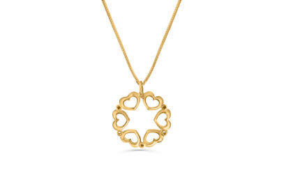 14K  Gold Star of David Necklace with a Hearts Frame  - NADAV ART