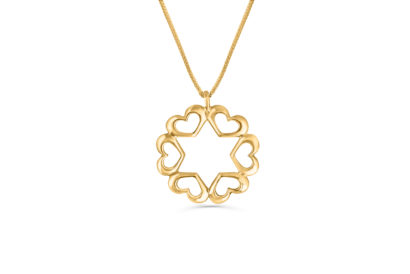 14k  Gold Heart Necklace with a Star of David  - NADAV ART