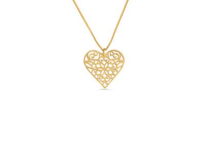 14K  Gold Floral Hollow Heart Necklace in Filigree Technique  - NADAV ART
